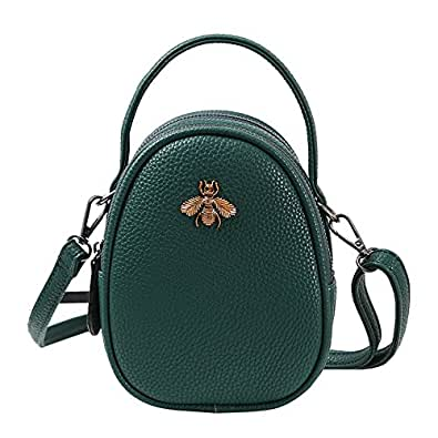 Olyphy Genuine Leather Small Shoulder Bag for Women, Mini Bee Cross Body Purse Round Handbag Green Size: Medium