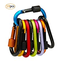 10pcs Carabiner Keychain,Lifegoo Aluminum Alloy Locking Clip D-Ring Shape Carabiners Hook with Screw Cap for Outdoor,Camping,Hiking,Fishing