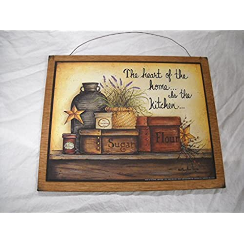 The heart of the home is the kitchen country wooden wall art sign sugar flour barn stars berries