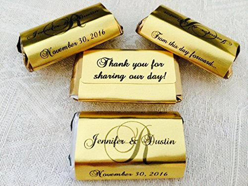 180 GOLD FOIL Monogram Wedding Candy wrappers/stickers/labels for your HERSHEY MINIATURES chocolate bars (Personalized Favors) for any Party or Event by The Camera Depot