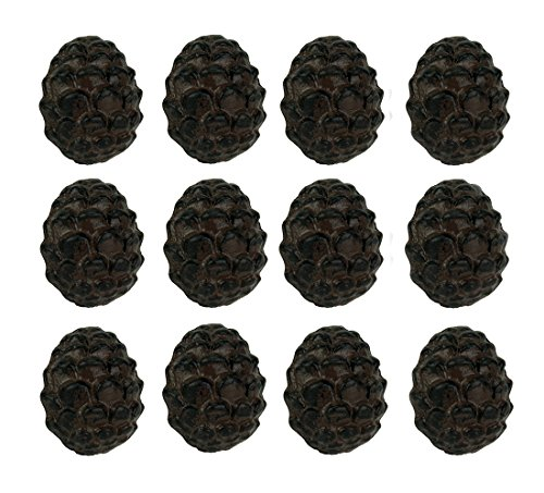 Zeckos Rustic Brown Woodland Pine Cone 12 Piece Cast Iron Drawer Pull Set