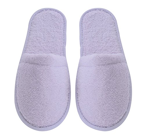 (Arus Women's Turkish Organic Terry Cotton Cloth Spa Slippers One Size Fits Most, Lilac with Black Sole)