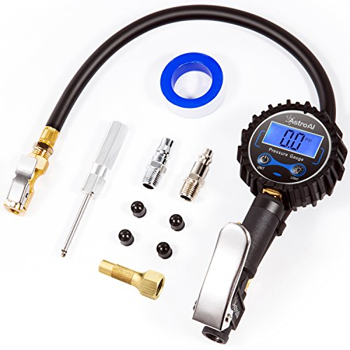 AstroAI Digital Tire Inflator with Pressure Gauge, 250 PSI Air Chuck and Compressor Accessories Heavy Duty with Rubber Hose and Quick Connect Coupler for 0.1 Display Resolution , Black (Digital Fuel Gauge)