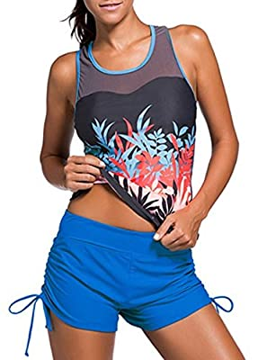 Passionate Adventure 2 Piece Bathing Suit Tank Top High Neck Tankini Sporty Boyshort Swimwear Swimsuits For Women