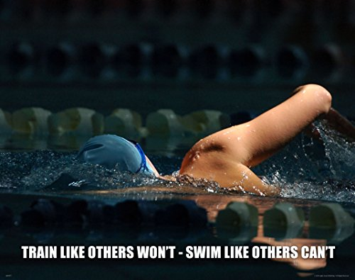 Swimming Swim Motivational Poster Art Print 11x14 Women's Men's Suit Trunks Cap
