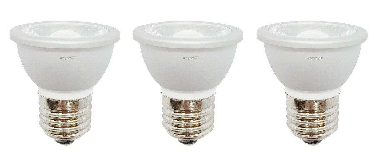 3-LED Light Bulbs HR16 120V E27 MR-16 JDR C Hood Lamp Short Neck E26 (Warm White) by Anyray