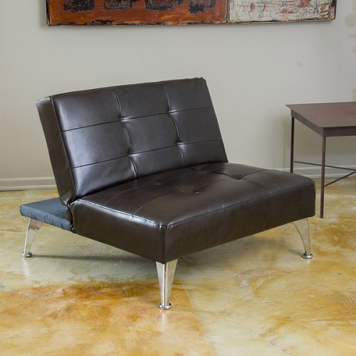 - Metro Shop Christopher Knight Home Alston Click-Clack Oversized Convertible Leather Ottoman Chair-Alston Click-Clack Oversized Brown Leather Chair
