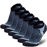 Low-Show Wool Running Socks – Cushioned Merino Wool Athletic Socks for Men and Women, Moisture Wicking (6 Pack - Black/Grey, Large)