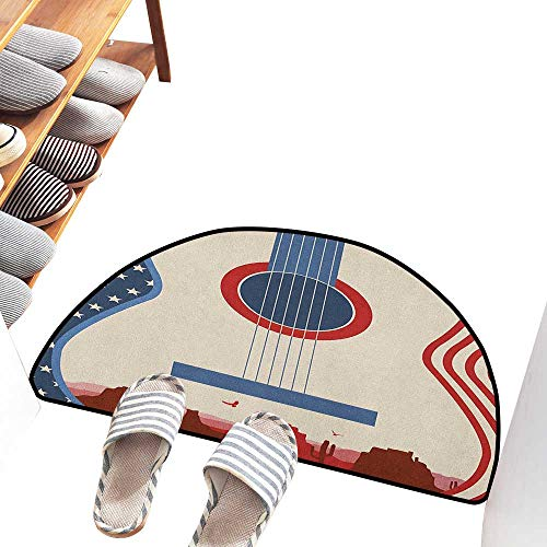 Axbkl Printed Door mat Music Country Music Festival Event Illustration Guitar with American Flag Design Print Anti-Fading W36 xL24 Cream Red Blue