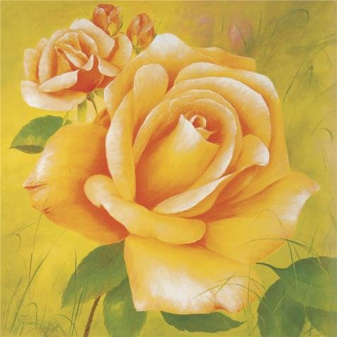 'Yellow Roses' Oil Painting, 16x16 Inch / 41x41 Cm ,printed On Perfect Effect Canvas ,this Beautiful Art Decorative Prints On Canvas Is Perfectly Suitalbe For Bedroom Gallery Art And Home Artwork And Gifts