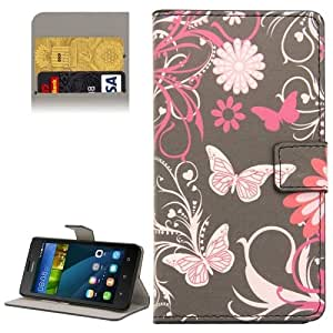 Butterfly Pattern Flip Leather Case with Holder & Card Slots Wallet for Huawei Y635