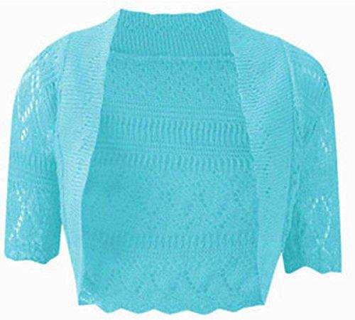 (My Mix Trendz Women's Crochet Knit Knitted Midi Sleeve Bolero Shrug-)