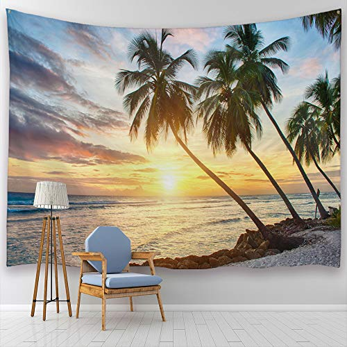 ALFALFA Sunset Palm Trees On Beach Tapestry Ocean Waves Tropical Island Summer Holiday Wall Hanging for Living Room Bedroom Dorm, 90
