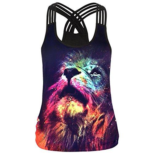 YICHUN - Camiseta sin mangas - para mujer Lion 10#
