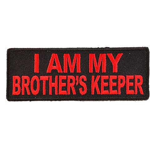 - I Am My Brother's Keeper Patch In Red - 4x1.5 inch. Embroidered Iron on Patch