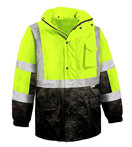 Brite Safety Style 5030 Hi Vis Parka Jacket: Breathable Waterproof Hooded: 2-Tone Lime, with 3M Reflective Tape, ANSI 107 Class 3 compliant (Large)