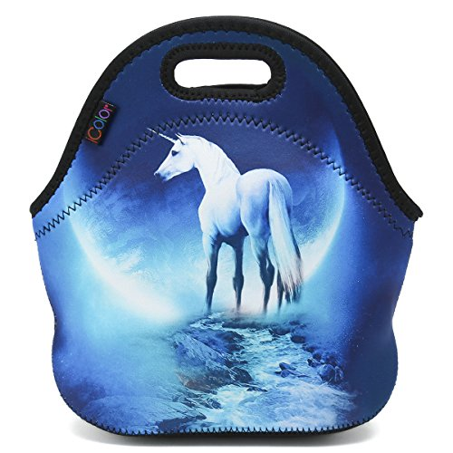 ICOLOR White Unicorn Insulated Neoprene Lunch Bag Tote Handbag lunchbox Food Container Gourmet Tote Cooler warm Pouch For School work Office