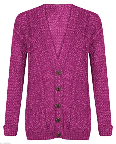 faa53b96a56d Girlzwalk Womens Long Sleeves Plus Size Cable Chunky Knitted Grandad Button  Cardigan (Cerise