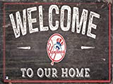"""Fan Creations New York Yankees 12"""" x 6"""" Distressed Welcome To Our Home Wood Sign"""