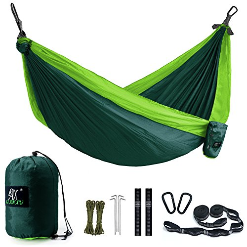 Double Camping Hammock&Straps - Multi-Functional Portable Lightweight Hammock with Many Accessories - Nylon Parachute Heavy Duty Outdoor Hammock with 2 Carabiners for Travel, Backpacking, Camp by LAX