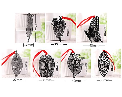 yueton Pack of 7 Creative Black Hollow Out Metal Bookmark with Red Strap
