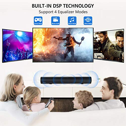 Soundbar Wohome Bluetooth TV Sound Bar 60W 32-Inch with 3 Equalizer Modes, Remote Control, Powerful 4 Speakers, Deep Bass, Optical Aux Coaxial Connection, Mount Kit, Wall Mountable, Model S06