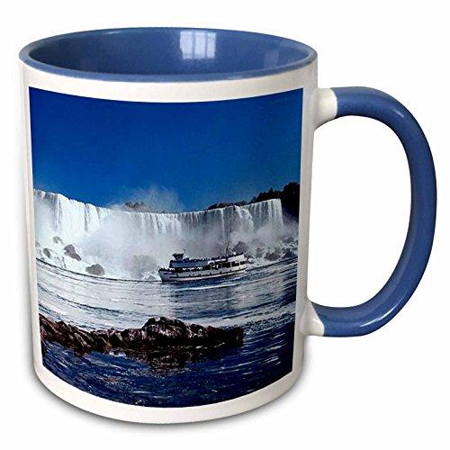 3dRose 21664_6 Niagara Falls with Boat-Two Tone Blue Mug, 11-Ounce, -