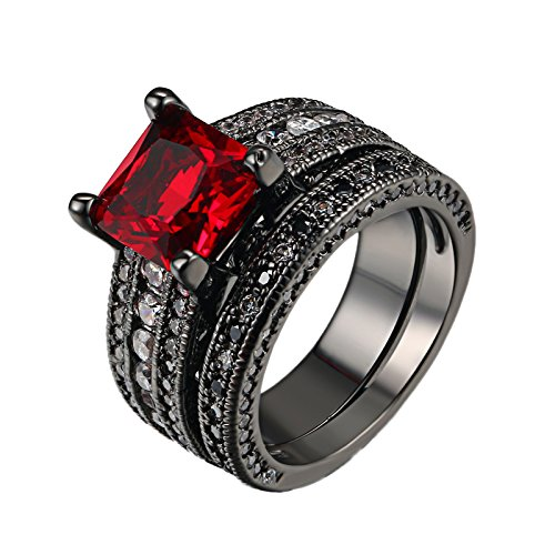 D.B.MOOD 2PCS Gorgeous Amazing Ruby Black Gun Plated Cubic Zirconia Halo Wedding Bridal Rings Set 8