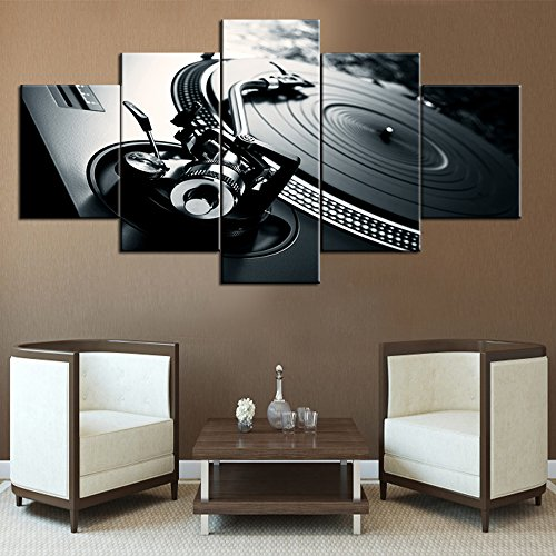 Black and White Music Pictures Wall Art for Living Room DJ Scratching Mixing Paintings5 Piece Canvas Modern Artwork Home Decor for Living Room,Wooden Frame Gallery-wrapped Ready to Hang(60''Wx32''H) (Best Earphones For Edm Music)