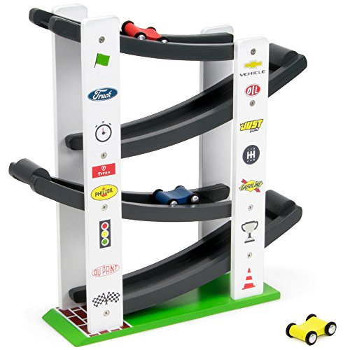 Imagination Generation Stock Car Ramp Racers Playset, Wooden Racing Track Toy | Includes 3 Colorful Mini Race Car Vehicles | Race Tracks for Boys and Girls of All Ages