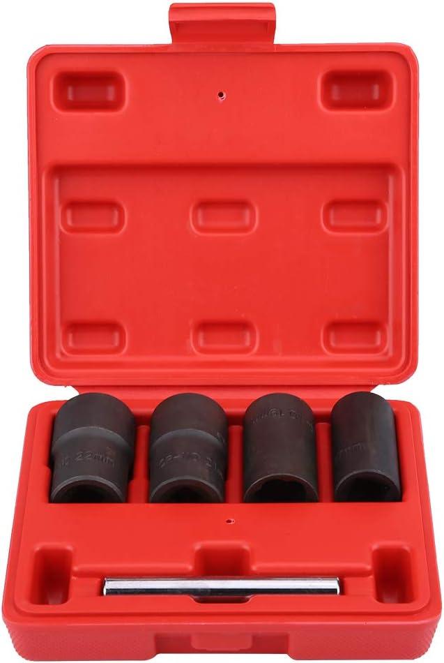 KIMISS 5Pcs Herramienta de Juego de zócalos torcidos, Extractor y Removedores de Tornillo de la tuerca de la rueda para 17mm 19mm 21mm 22mm Socket