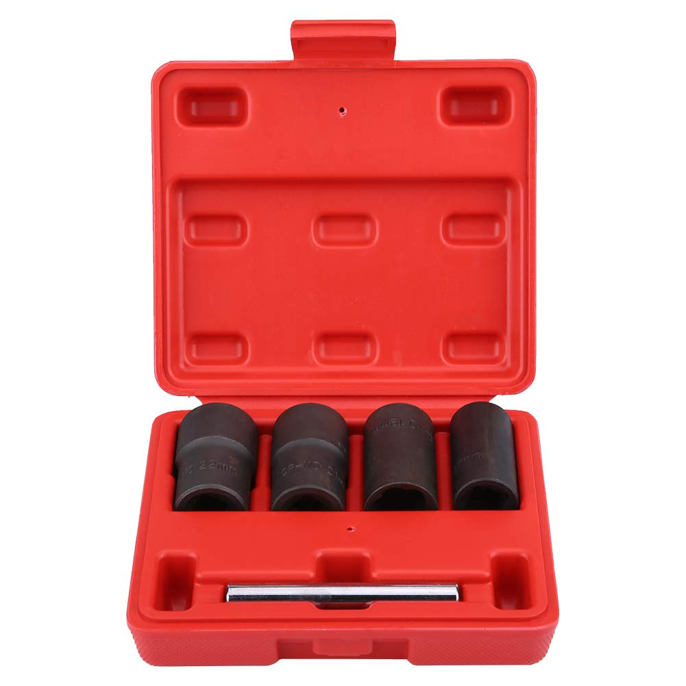 Senyar 5Pcs Twist Socket Set,Carbon Steel Locking Wheel Nut Bolt Stud Extractor Removers 17mm 19mm 21mm 22mm Socket(Black) by Senyar