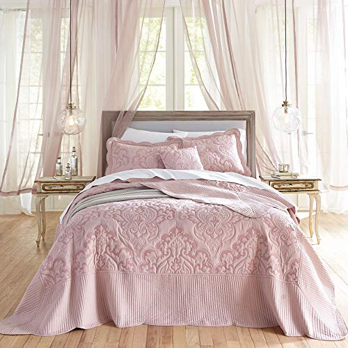 BrylaneHome Amelia Bedspread - Pale Rose, Queen (Bedspreads With Roses)
