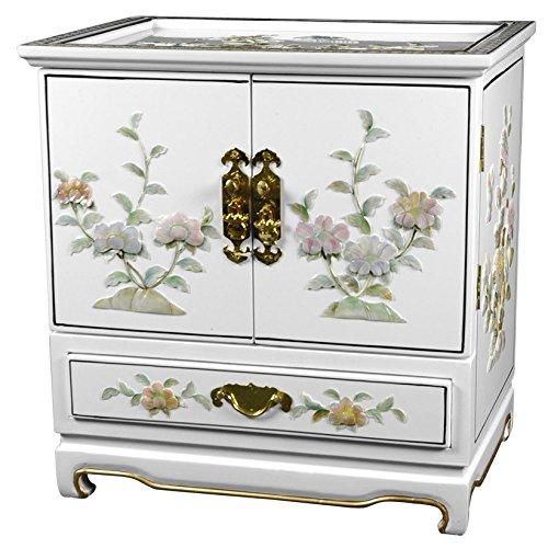 Oriental Furniture Empress Lacquer Jewel Box (White) (Bedroom Empress)