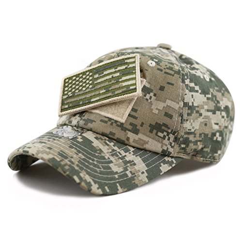- The Hat Depot Low Profile Tactical Operator with USA Flag Patch Buckle Cotton Cap (Digi Camo)