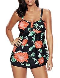 Papaya Wear Womens Vintage Floral Tankinis Modest Retro Swim Top and Boardshort