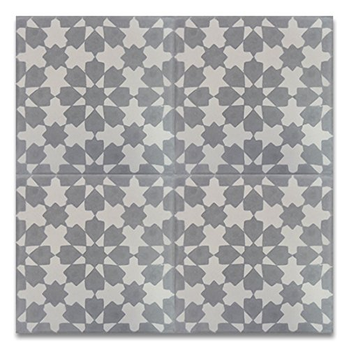 Moroccan Mosaic & Tile House CTP04-07 Ahfir 8''x8'' Handmade Cement Tile in Gray and White(Pack of 12) -