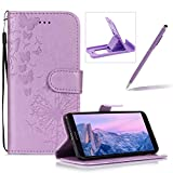 Wallet Leather Case for Huawei Mate 10 Pro,Strap Leather Cover for Huawei Mate 10 Pro,Herzzer Premium Elegant Purple Dandelion Butterfly Printed Magnetic Foldable Full Body Folio Pu Leather Soft Inner Stand Cover with Card Slots