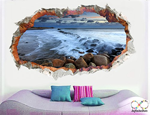 Rocky Beach - 3D Wall graphics stickerposter for Wall decor BedroomLiving RoomKids Room 72 X 45 inches