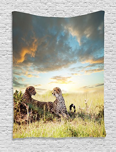 Ambesonne Safari Decor Collection, Two Cheetahs Africa Nature Grass Dangerous Animals Hunters Rainy Weather Picture, Bedroom Living Room Dorm Wall Hanging Tapestry, Green Blue (Safari Grass)