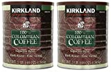 Kirkland Signature 100% Colombian Coffee, Supremo Bean Dark Roast-Fine Grind, 3 Pound (2 Cans)