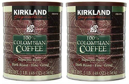 Kirkland Signature 100% Colombian Coffee, Supremo Bean Dark Roast-Fine Grind, 3 Pound (2 Cans) by Kirkland Signature