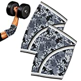 Compression Elbow Sleeves(Pair), 5mm Neoprene,Perfect Support for Crossfit,Weightlifting,Powerlifting ,Tennis, Golf & Basketball (Small, Grey Camo)