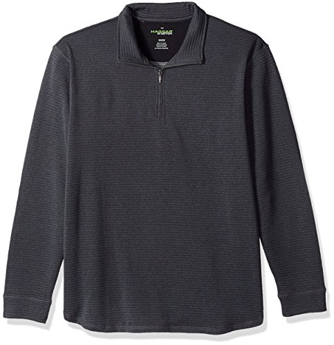 Haggar Big and Tall Men's Big&Tall Long Sleeve Athleisure Ottoman Knit Qtr Zip, Charcoal Grey Heather, 2X