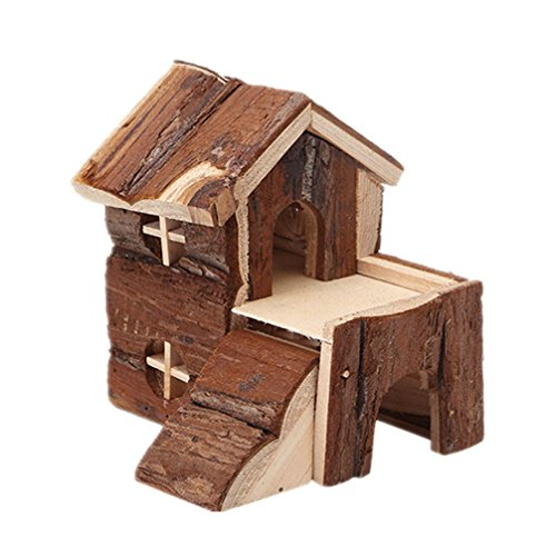 Emours Natural Chewable Hamster Hideout Wooden Hut Play House, Small