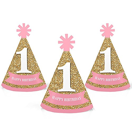 pink birthday cone hats - 3