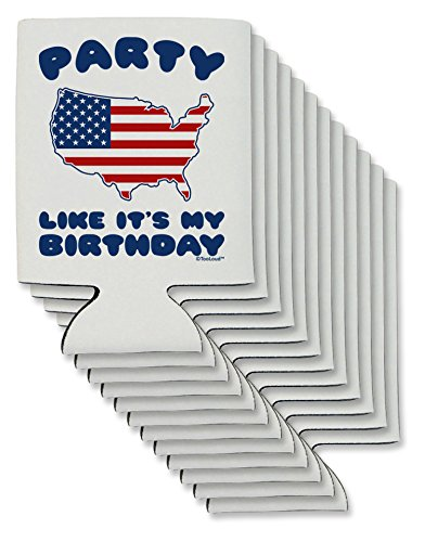 TooLoud Party Like It's My Birthday - 4th of July Can/Bottle Insulator Coolers - 12 Pieces