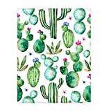 QH Printed Hand Painted Watercolor Cactus Throw Blanket Cute Blanket for Bed Kid's Room Couch Sofa Lightweight 58x80 Inch for Boys Girls and Women Men All Season