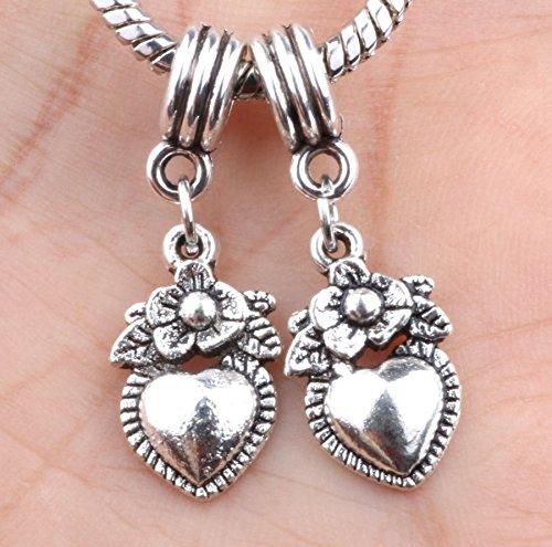 2P European Silver CZ Charm Beads Fit Sterling 925 Necklace Bracelet Chain #633