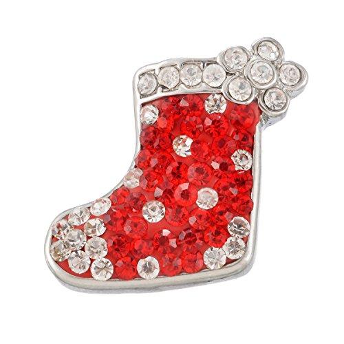 (Souarts Christmas Stocking Shape Rhinestone Snap Button Jewelry Charm for DIY Bracelet Red)